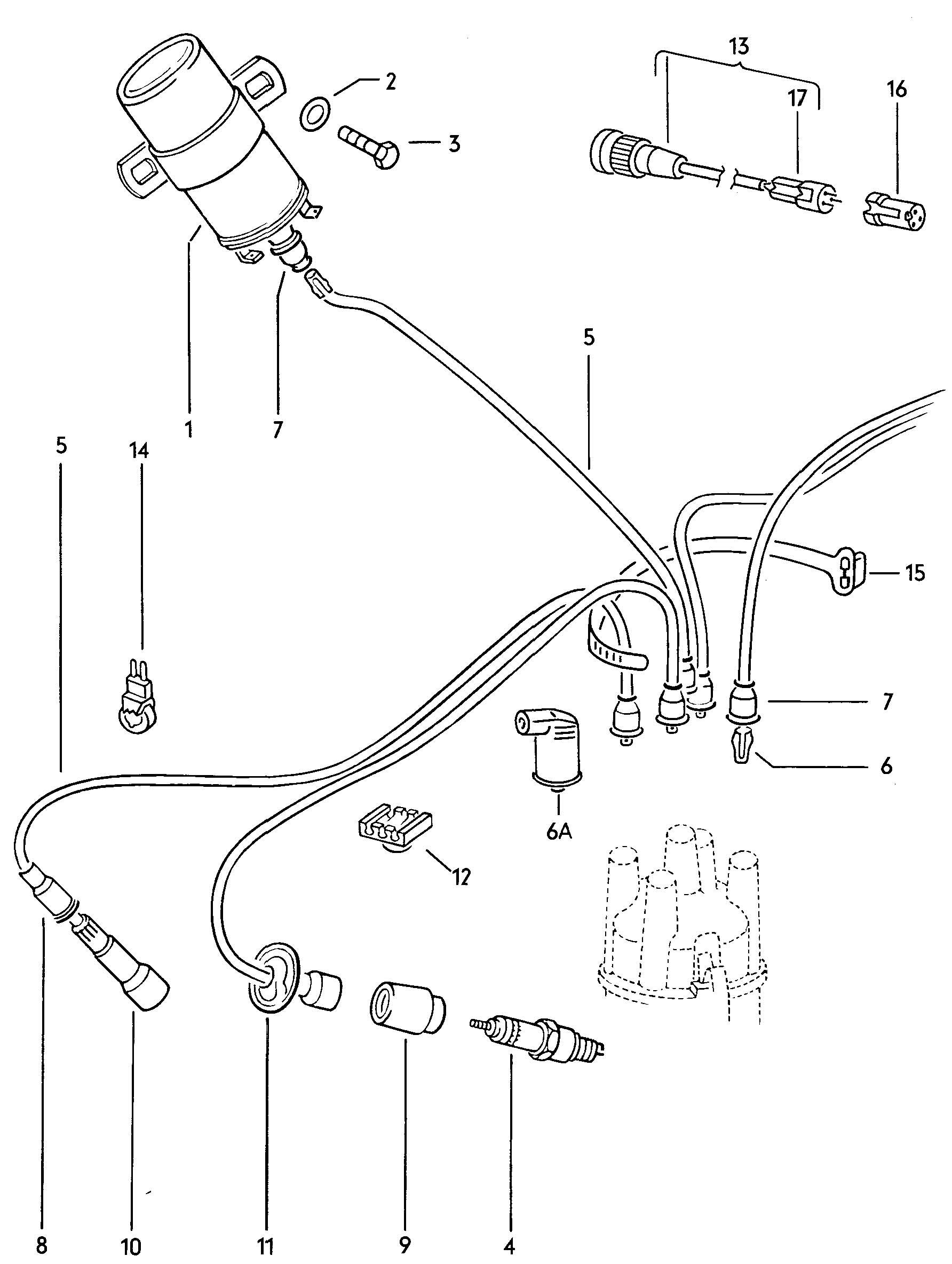 1974 beetle coil and distributor wiring