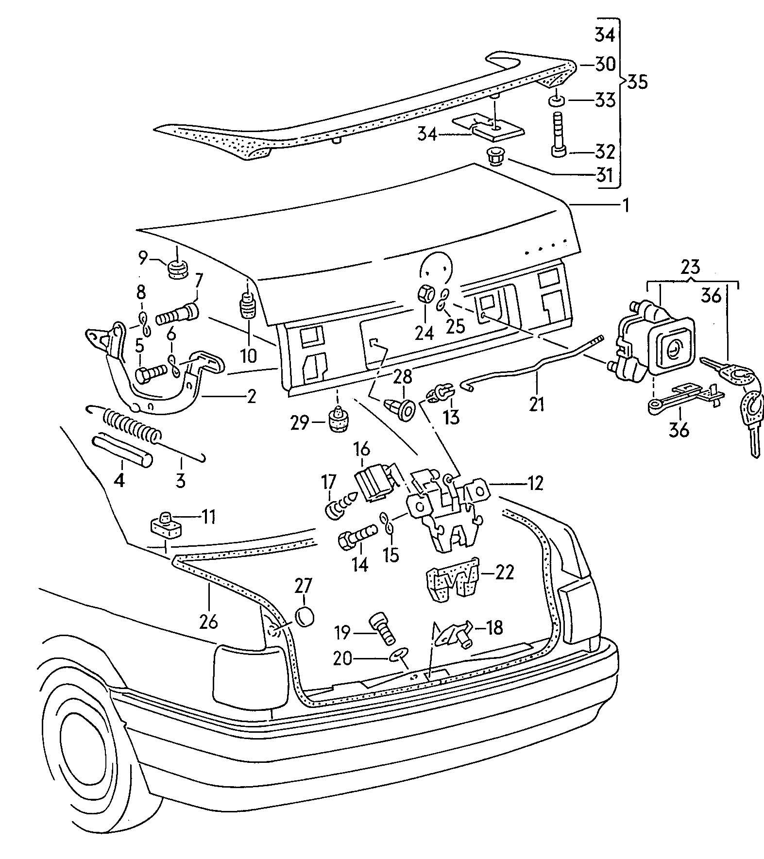 Volkswagen Passat Syncro Rear Trunk Lid Spoiler Rear