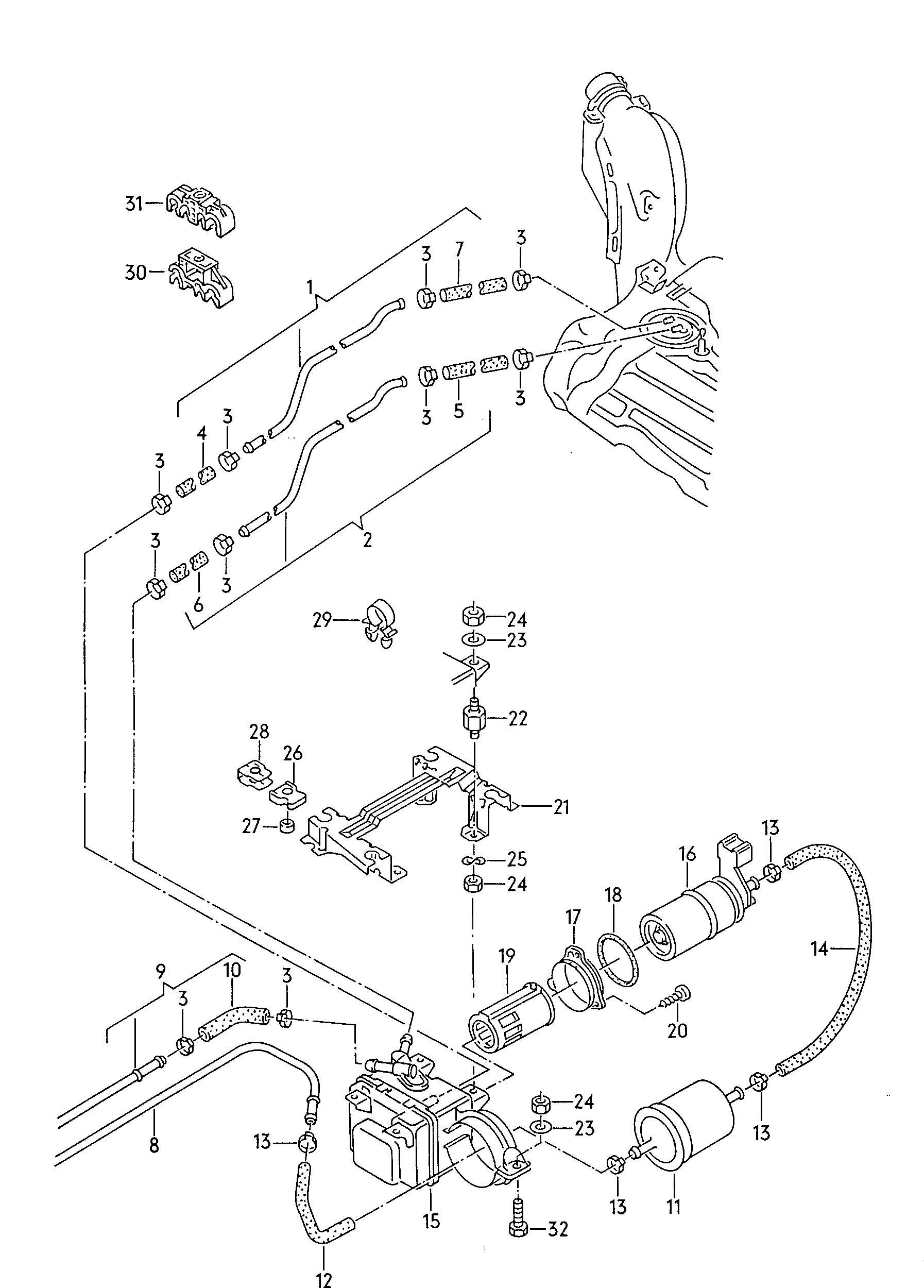 1992 Volkswagen Jetta Fuel line casing for fuel pump fuel