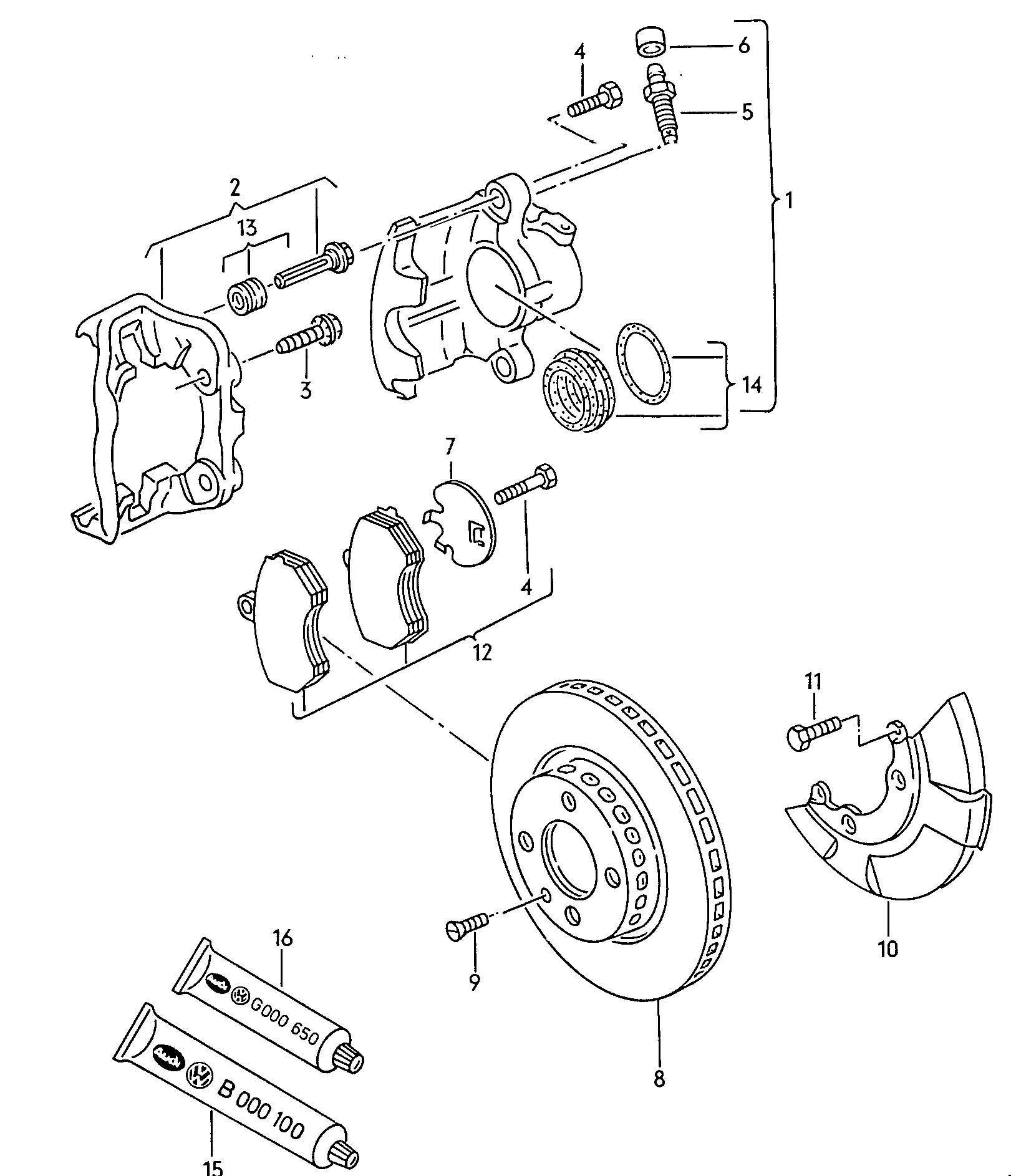 Volkswagen Jetta Disc Brake Brake Caliper Brake Disc Ventilated For Vehicles With Anti Locking