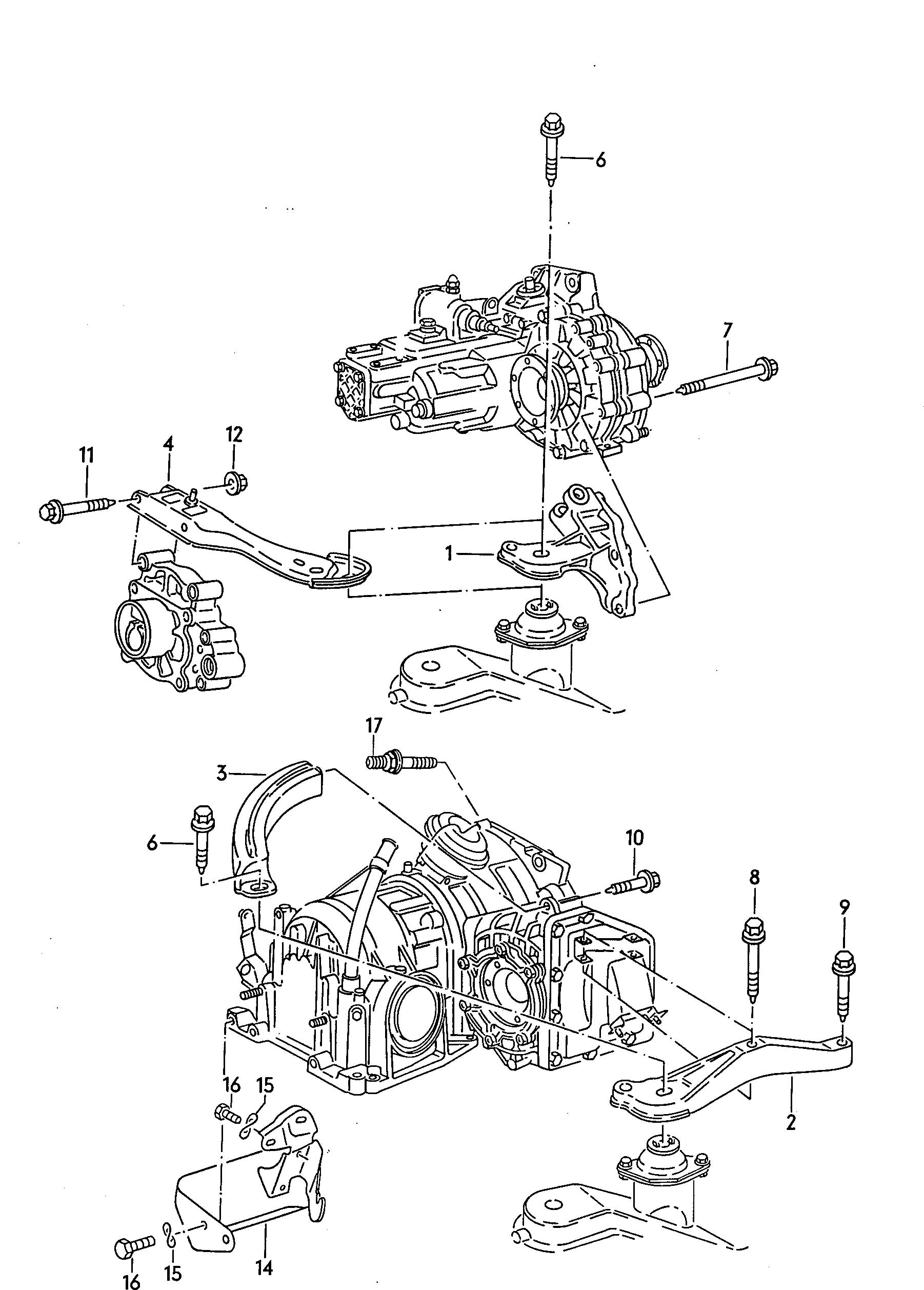 1986 Volkswagen Golf Transmission securing parts