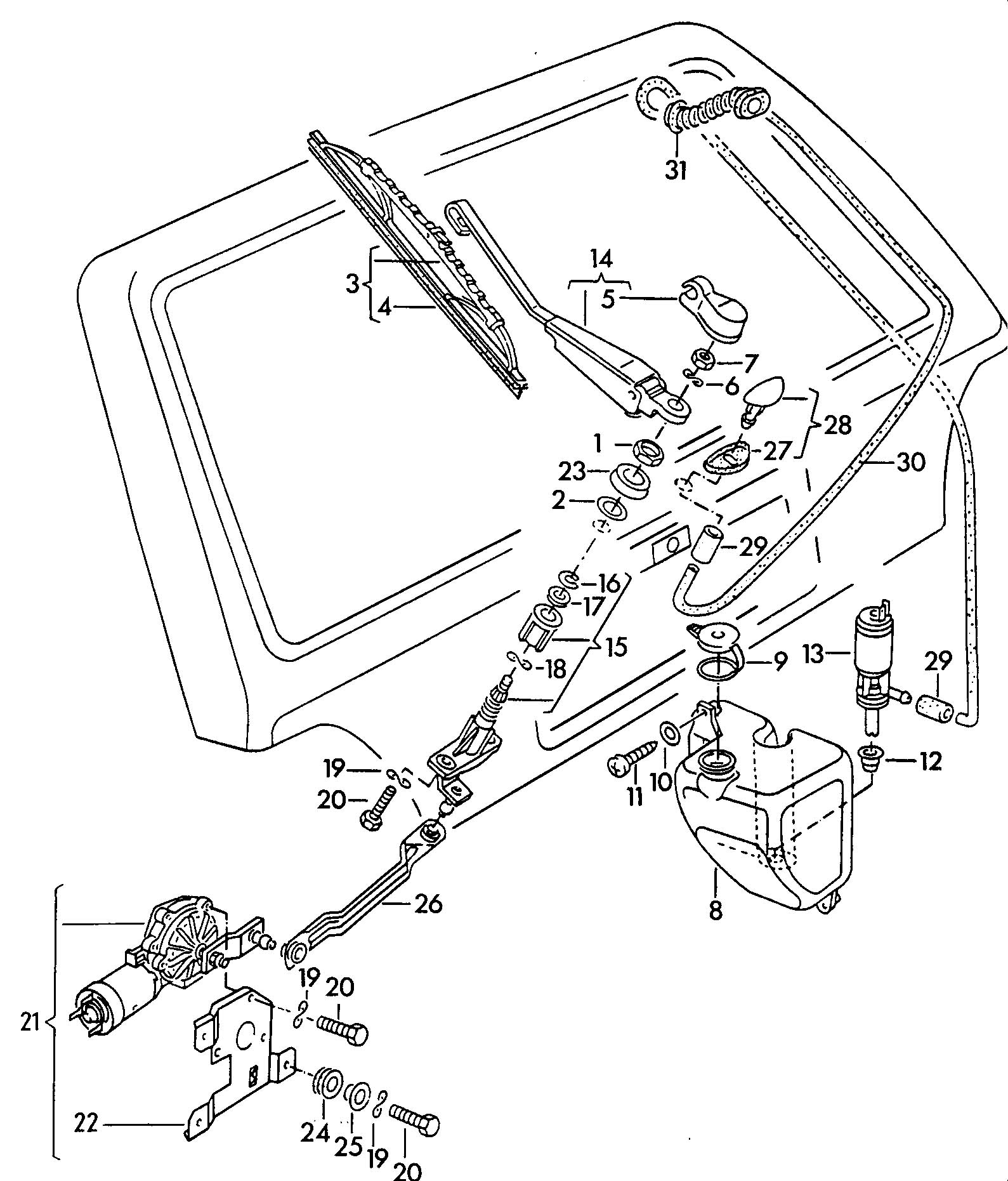 1985 Volkswagen Golf Wiper and washer system for rear window
