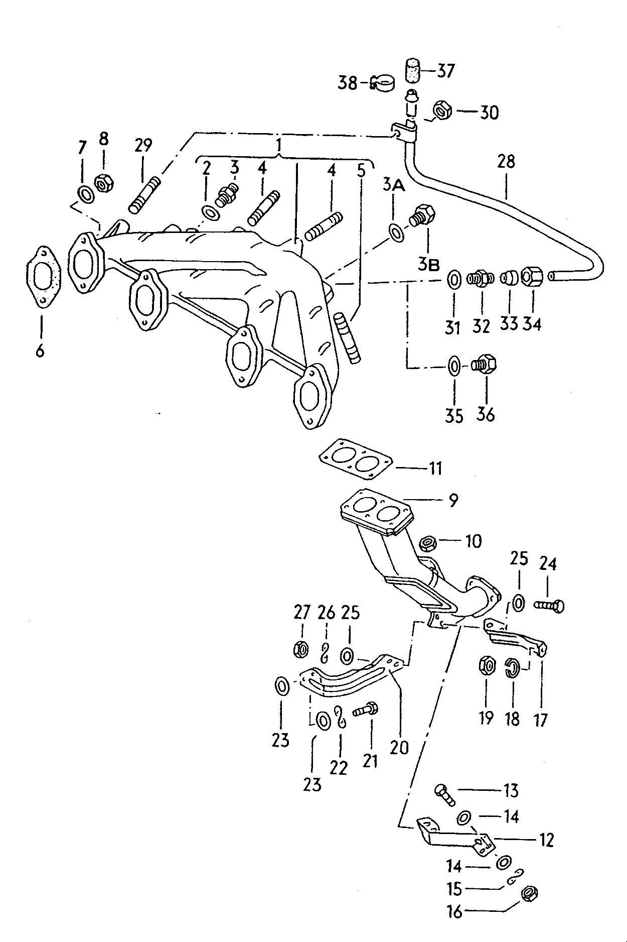 Volkswagen Vw Rabbit 1 6lsel Exhaust Manifold