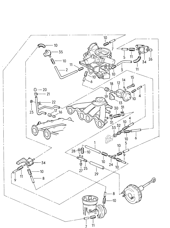 1984 Volkswagen Rabbit 1.6L Diesel Vacuum system 1.7ltr.
