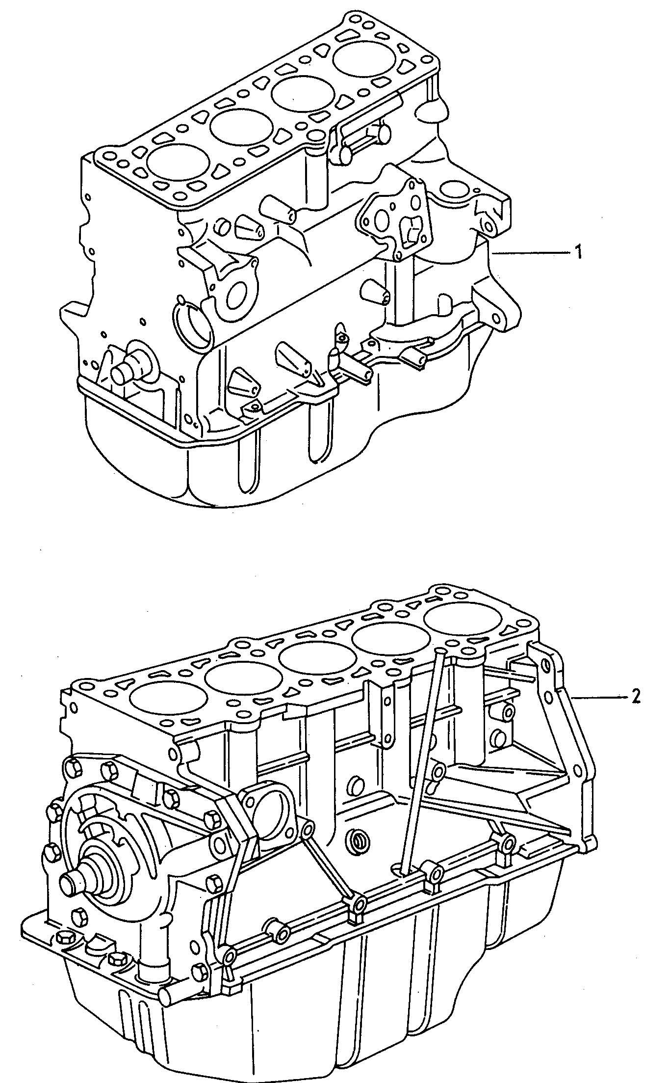 1998 Volkswagen (VW) Golf Base engine without distribu