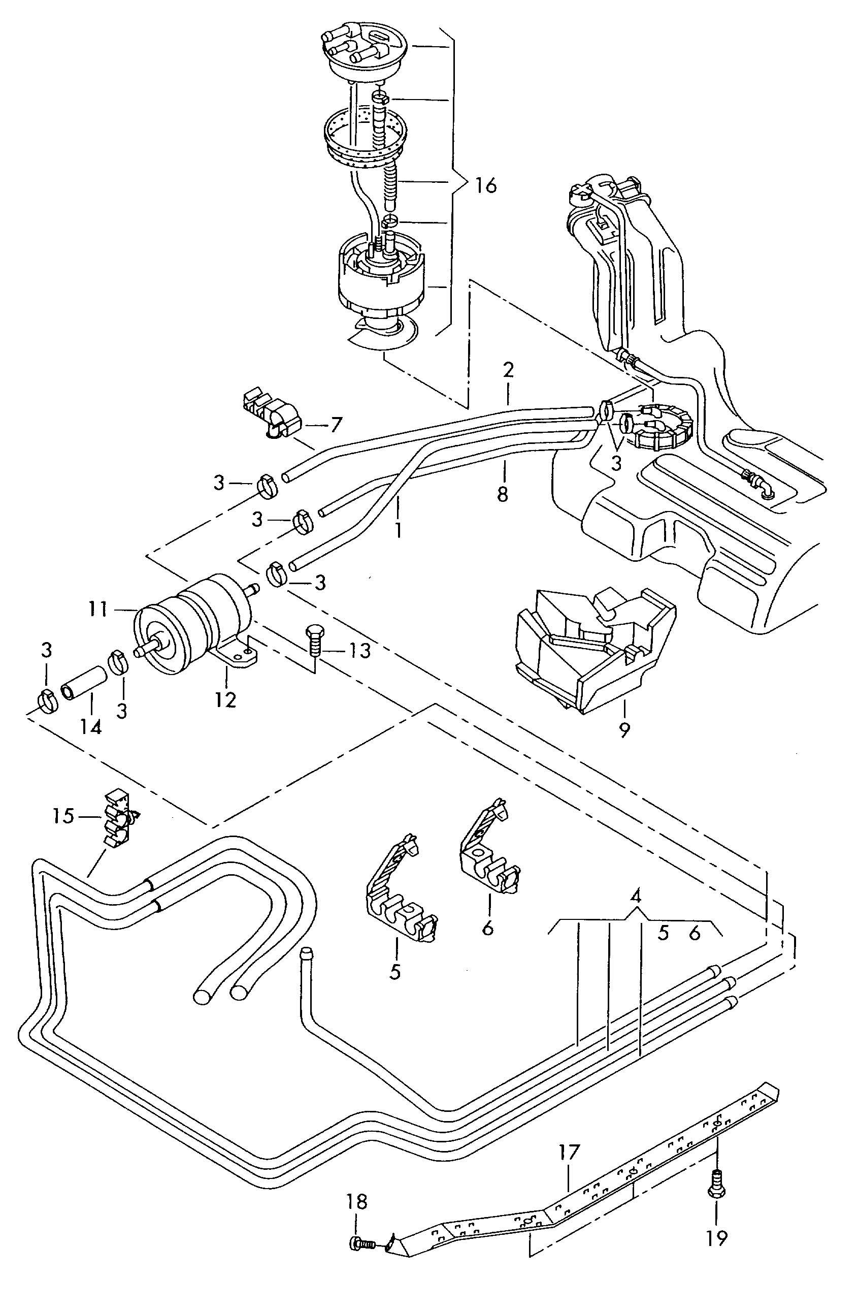2002 Volkswagen Passat Fuel line fuel filter