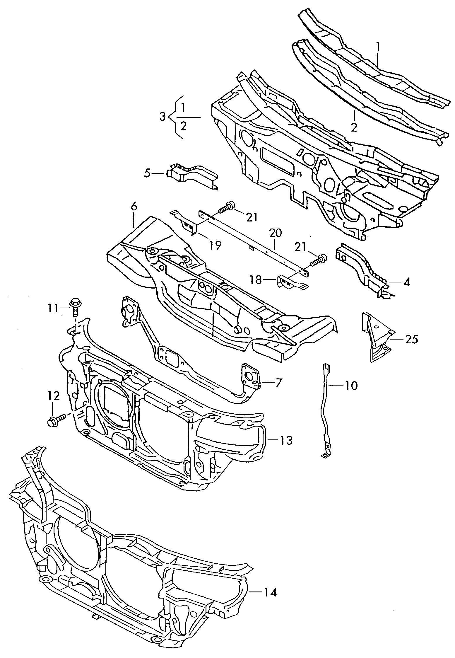 Volkswagen Vw Passat Syncro Body Front Section Dash Panel
