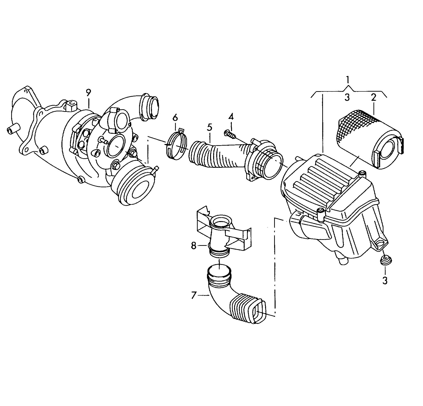 Volkswagen Jetta Air Cleaner With Connecting Parts 1