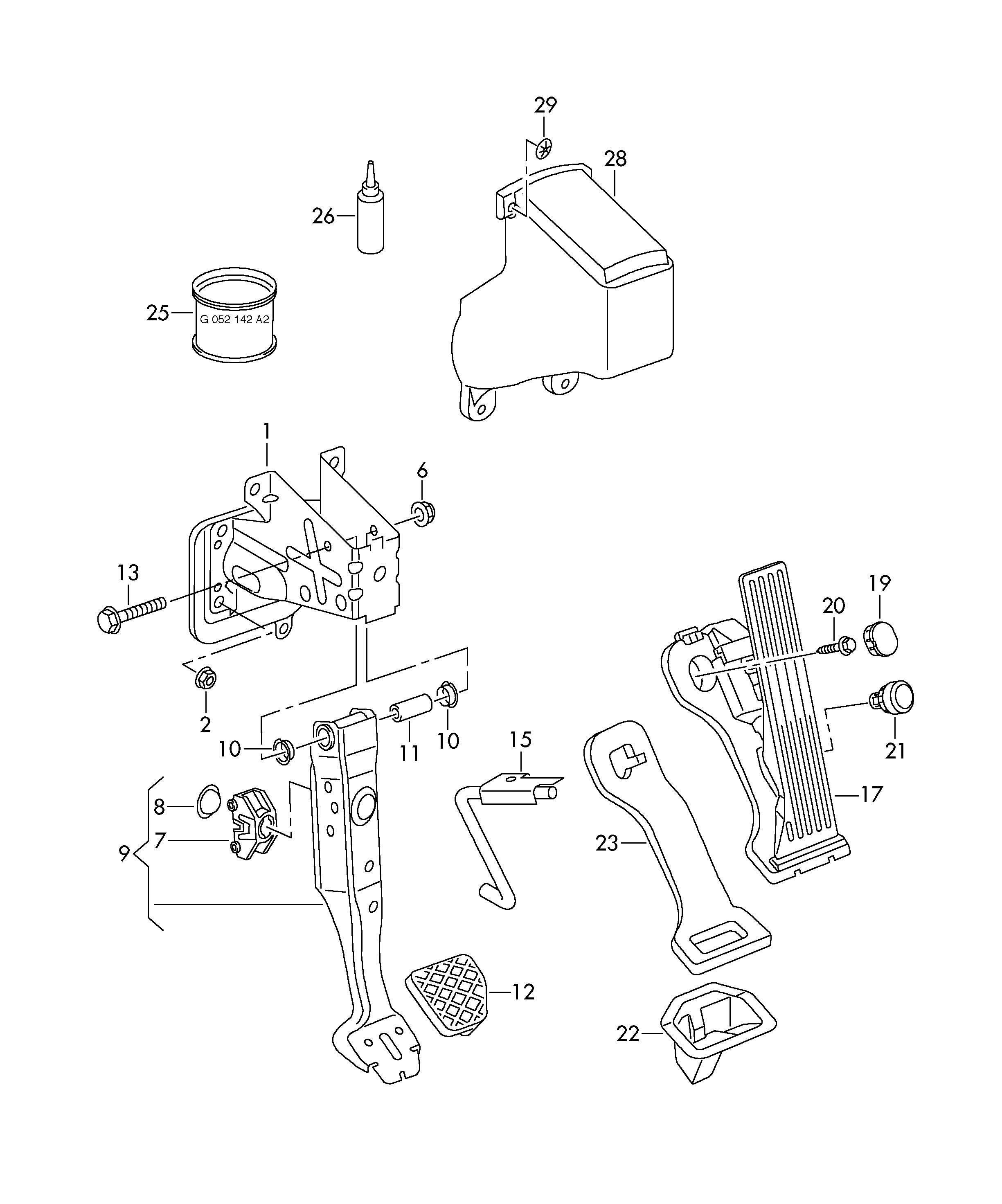 Volkswagen Rabbit Brake and acc. pedal assembly lhd