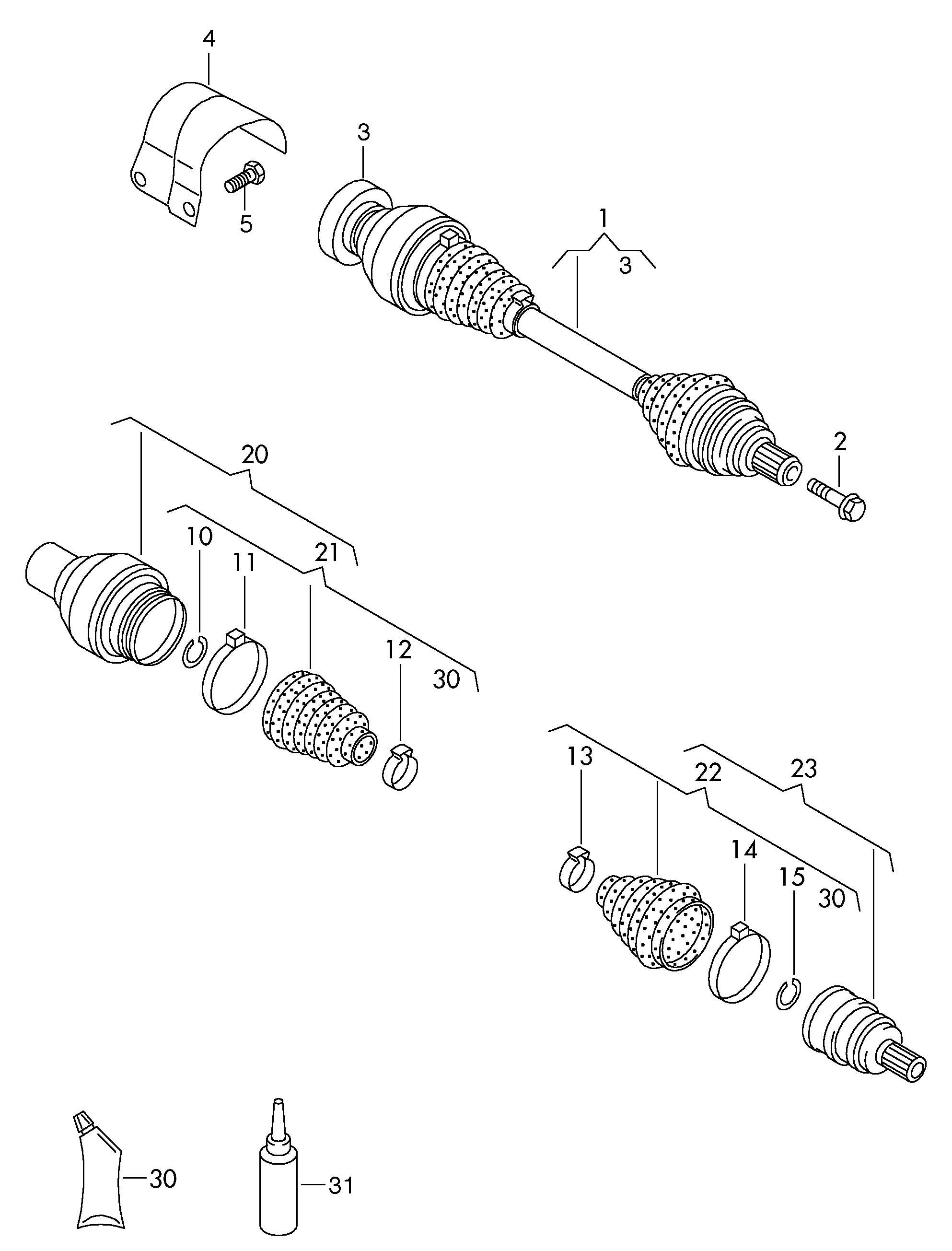 Volkswagen Tiguan Drive shaft for 6 speed manual transmiss