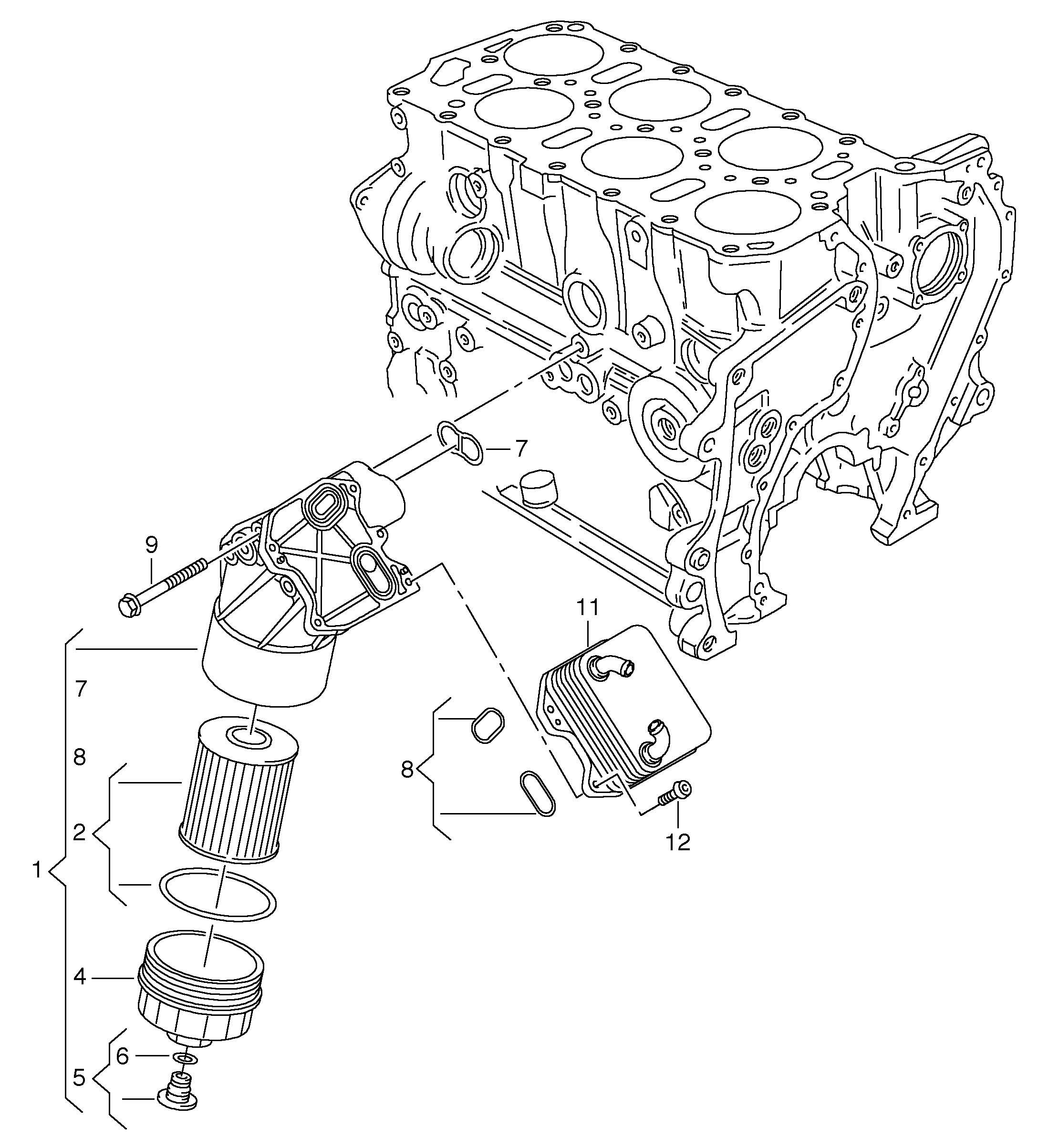 2011 Volkswagen (VW) Oil filter oil cooler 3.6ltr.