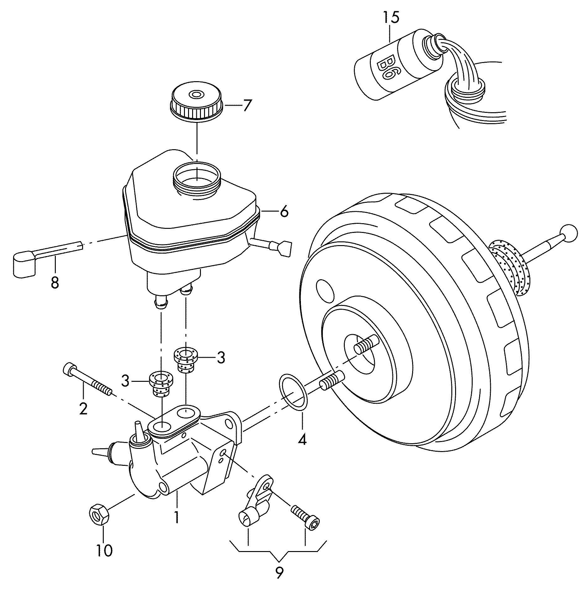 2012 Volkswagen Touareg Tandem master cylinder