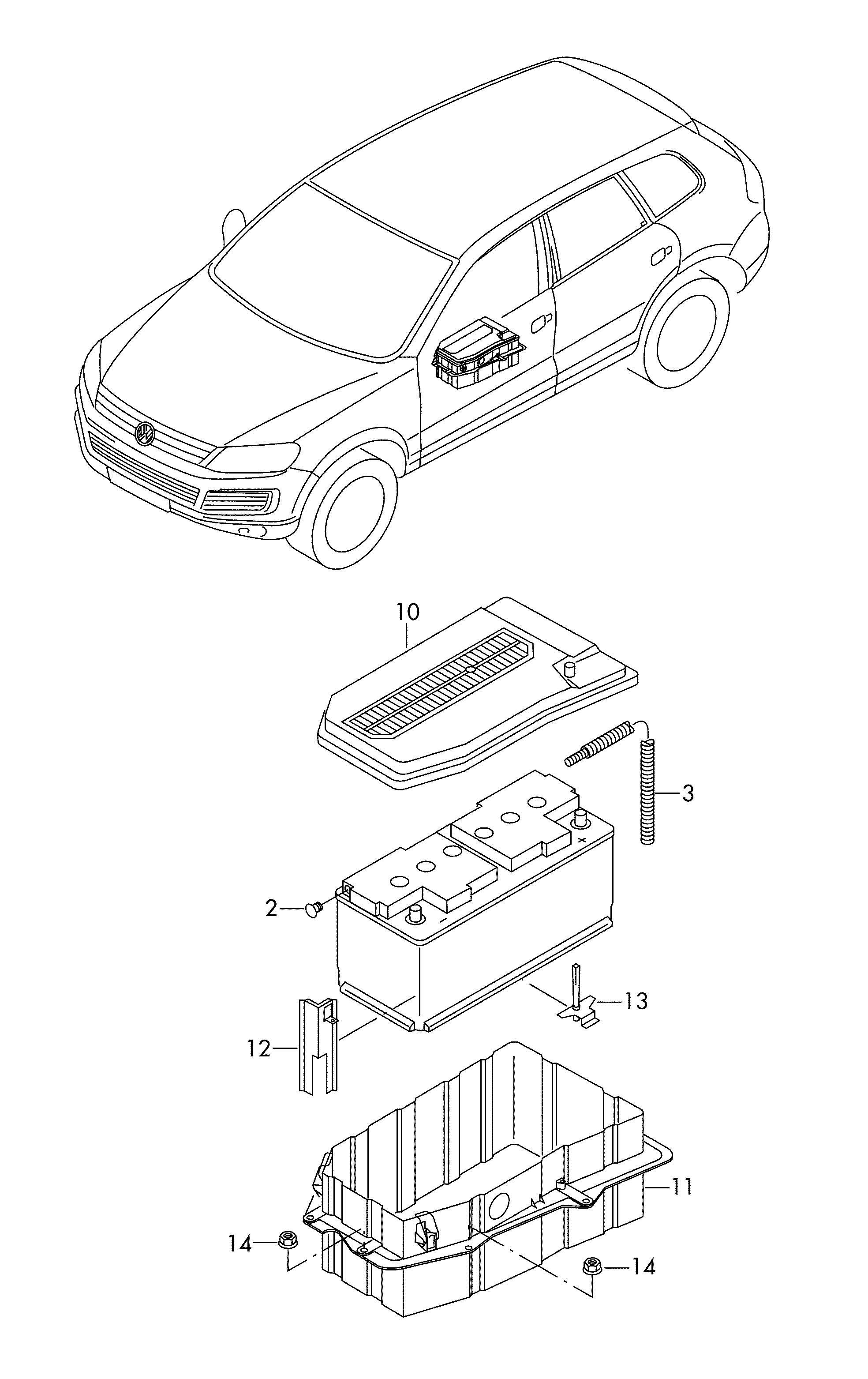 Volkswagen Touareg Battery Box Battery Battery Mounting