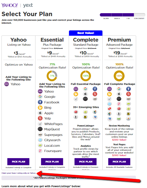 Free Yahoo Listing Example