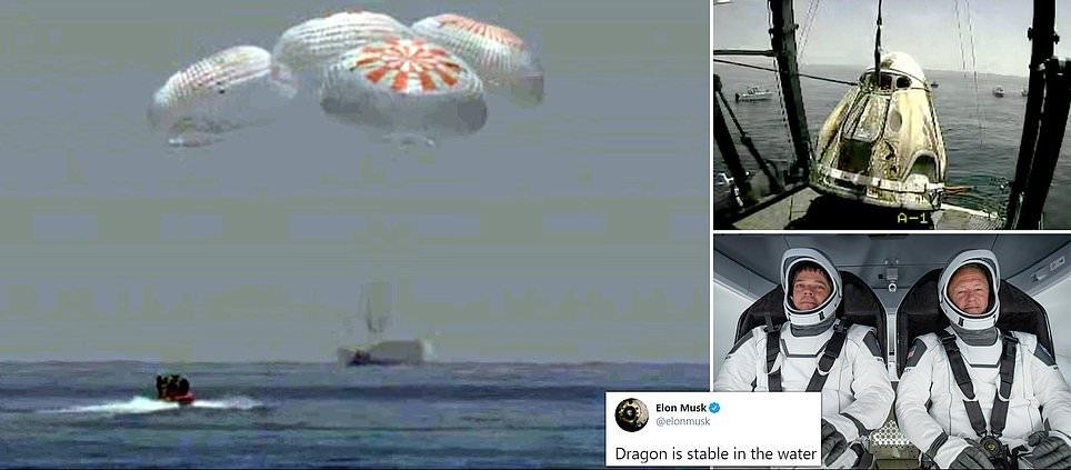 WATCH: SpaceX Capsule & NASA Crew Make First Splashdown In 45 Years