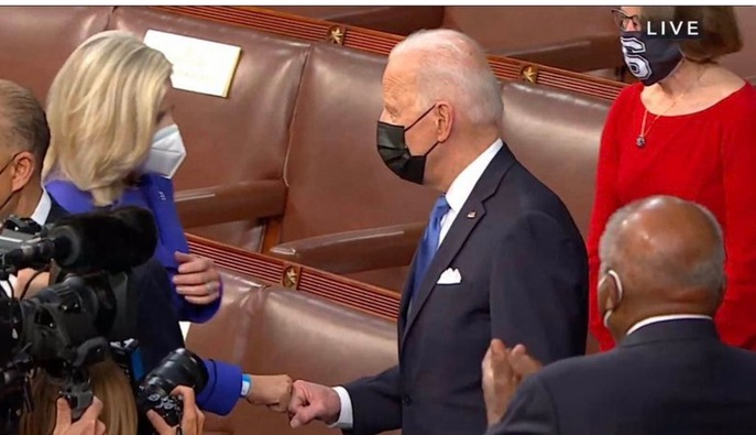 Liz Cheney Fist Bumps With Biden & Trumpers Lose Their Minds