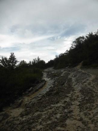 Muddy unpaved mountain track