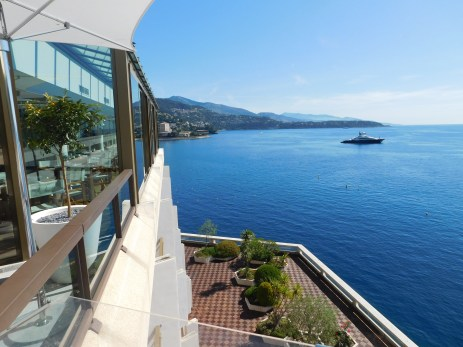 A spectacular view of Monte Carlo bay from the restaurant of the Fairmont Hotel. The swimming pool shares the top floor.
