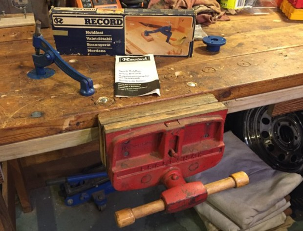 Tall Bench with Vise and Holdfasts