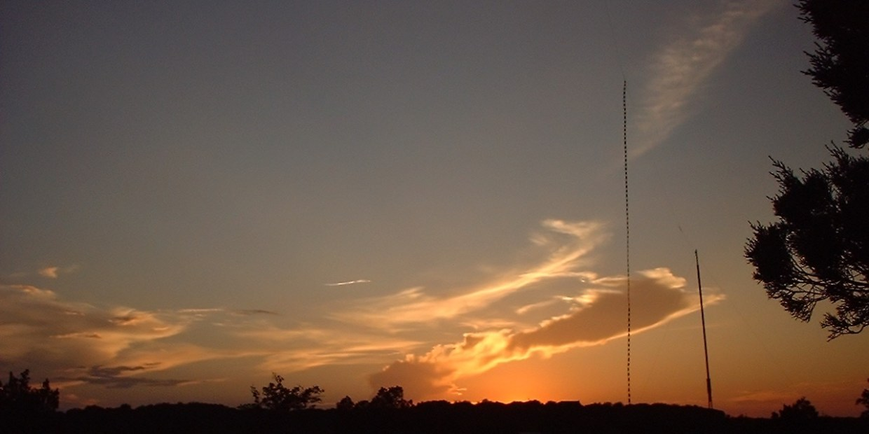 photo of a Center-Fed Zepp Antenna at sunset