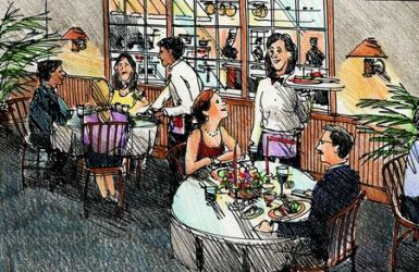 restaurant scene drawing sketch bar painting drawings dining outdoor interior recycled sketches shortcuts leggitt jim esl jimleggitt typepad cute clipart