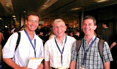 David Beverley (centre) with two of our CF research fellows Eduardo Moya (L) and Ian Bowler (R)