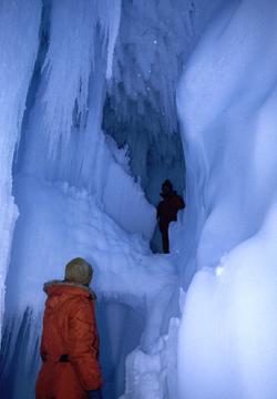 Multi-level ice cave.