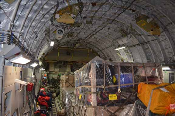 Interior of a C-17, the flying warehouse.