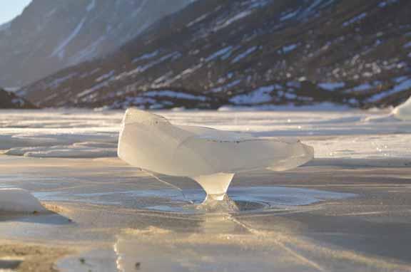 """Mushroom"" ice on the frozen surface of Lake Hoare"