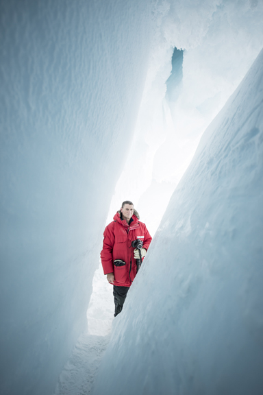 That's me, standing in the ice cave of 2014. (Photo by Alasdair Turner)
