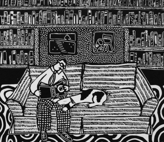 """""""Library"""" by Coco Berkman (a black-and-white print of a man reading in his library with his dog)"""