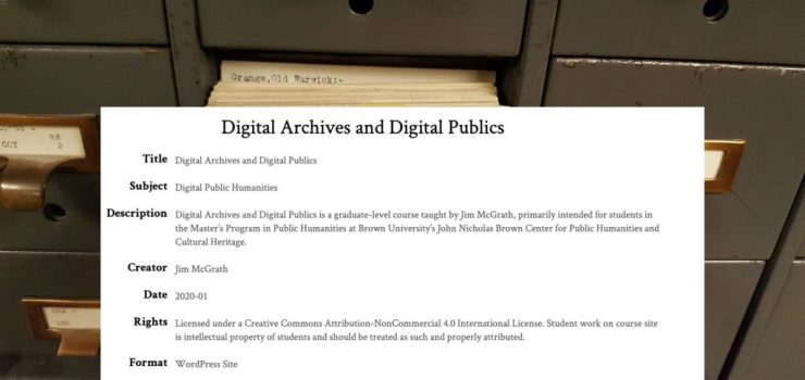 "Home page image for Jim's ""Digital Archives and Digital Publics"" course of a file cabinet and course metadata"