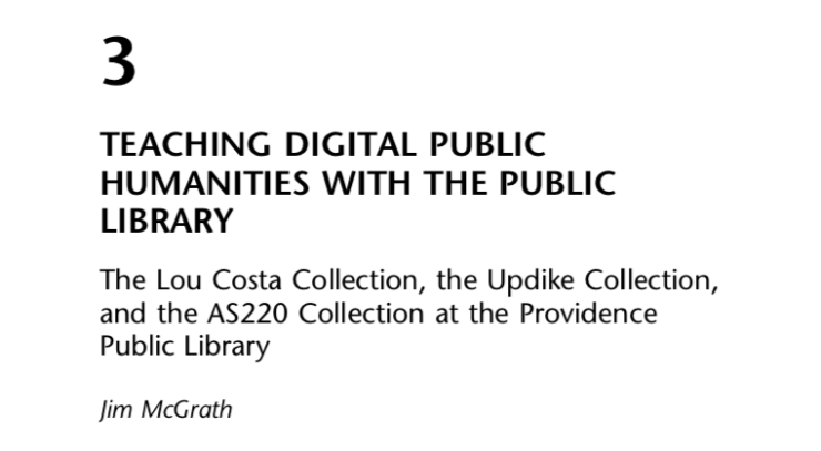 """Screenshot of title page for """"Teaching Digital Public Humanities with the Public Library,"""" an essay by Jim McGrath in the Doing Public Humanities collection."""
