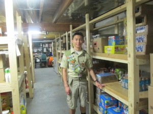 Jake built the shelves for soup kitchen. we donated money for the material