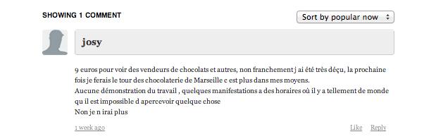 Avis négatif Salon Chocolat Marseille