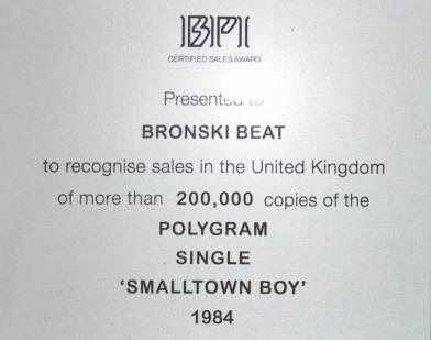 BPI Sales Award Bronski Beat Smalltown Boy