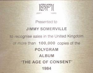 BPI Sales Award Bronski Beat The Age Of Concent