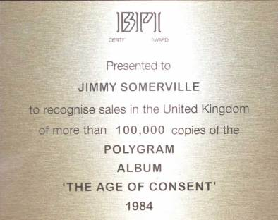 BPI Sales Award Bronski Beat The Age Of Concent