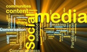 Social media wordcloud glowing