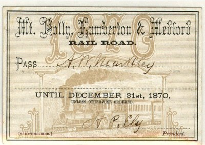 Railroad Pass signed by HP Ely