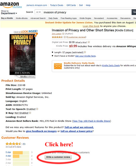 Help leaving a book review on Amazon