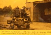 Historical photo of Kawarren station with ganger trolley