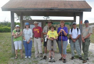 Sandra-and-Jim-Schmid-with-Group-start-Gulf-Is-Nat-Seashore-Florida-Trail-Association-Panhandle-Trace-Hike-2011