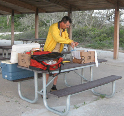 Jim-Schmid-making-lunch-Gulf-Is-Nat-Seashore-Florida-Trail-Association-Panhandle-Trace-Hike-2011