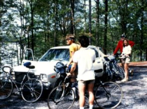 Students-on-USC-Bicycle-Touring-Class-overnight-bike-trip-to-Billy-Dreher-State-Park-Spring-1984