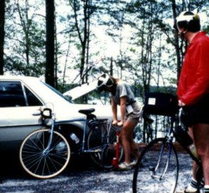 Sandy-Young-pumping-up-bike-tire-on-USC-Bicycle-Touring-Class-overnight-bike-trip-to-Billy-Dreher-State-Park-Spring-1984