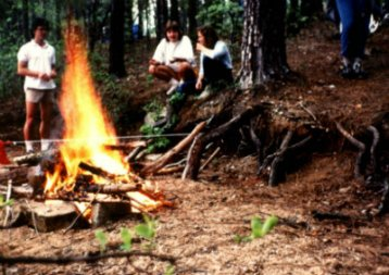Sandy-Young-at-campfire-on-USC-Bicycle-Touring-Class-overnight-bike-trip-to-Billy-Dreher-State-Park-Spring-1984
