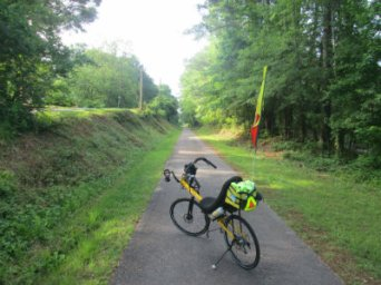 Jim-Schmid's-Bacchetta-Giro-Recumbent-on-Chattahoochee-Valley-Railroad-Trail-AL-2015-06-02