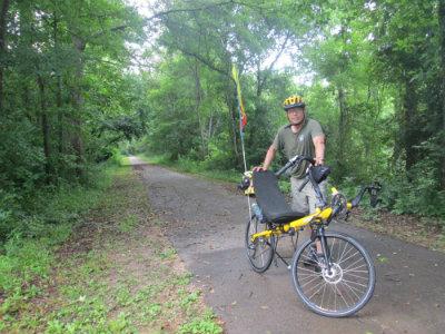 Jim-Schmid-with-Bacchetta-Giro-Recumbent-on-Chattahoochee-Valley-Railroad-Trail-AL-2015-06-02
