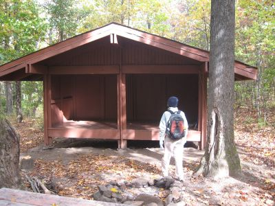 Sandra-Schmid-at-shelter-on-Approach-Trail-to-Springer-Mtn-10-23-2008